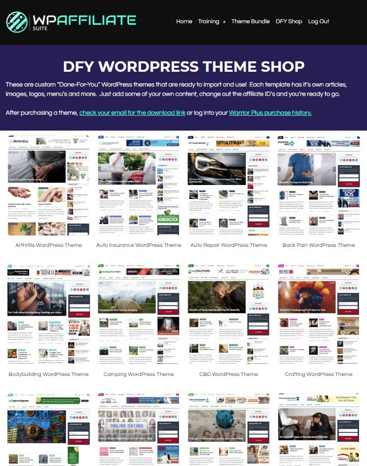 WP Affiliate Suite Done For you theme